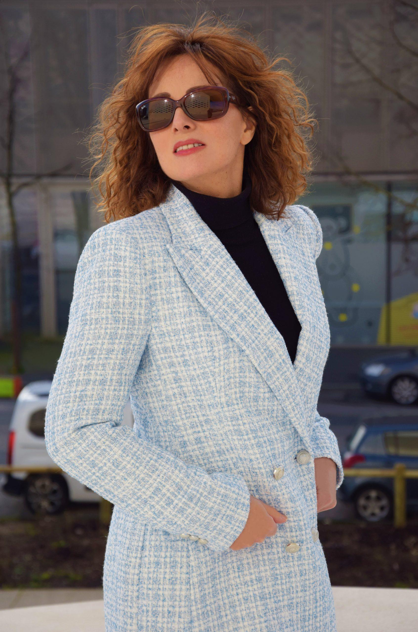 nelly berthele blazer a carreaux bleu