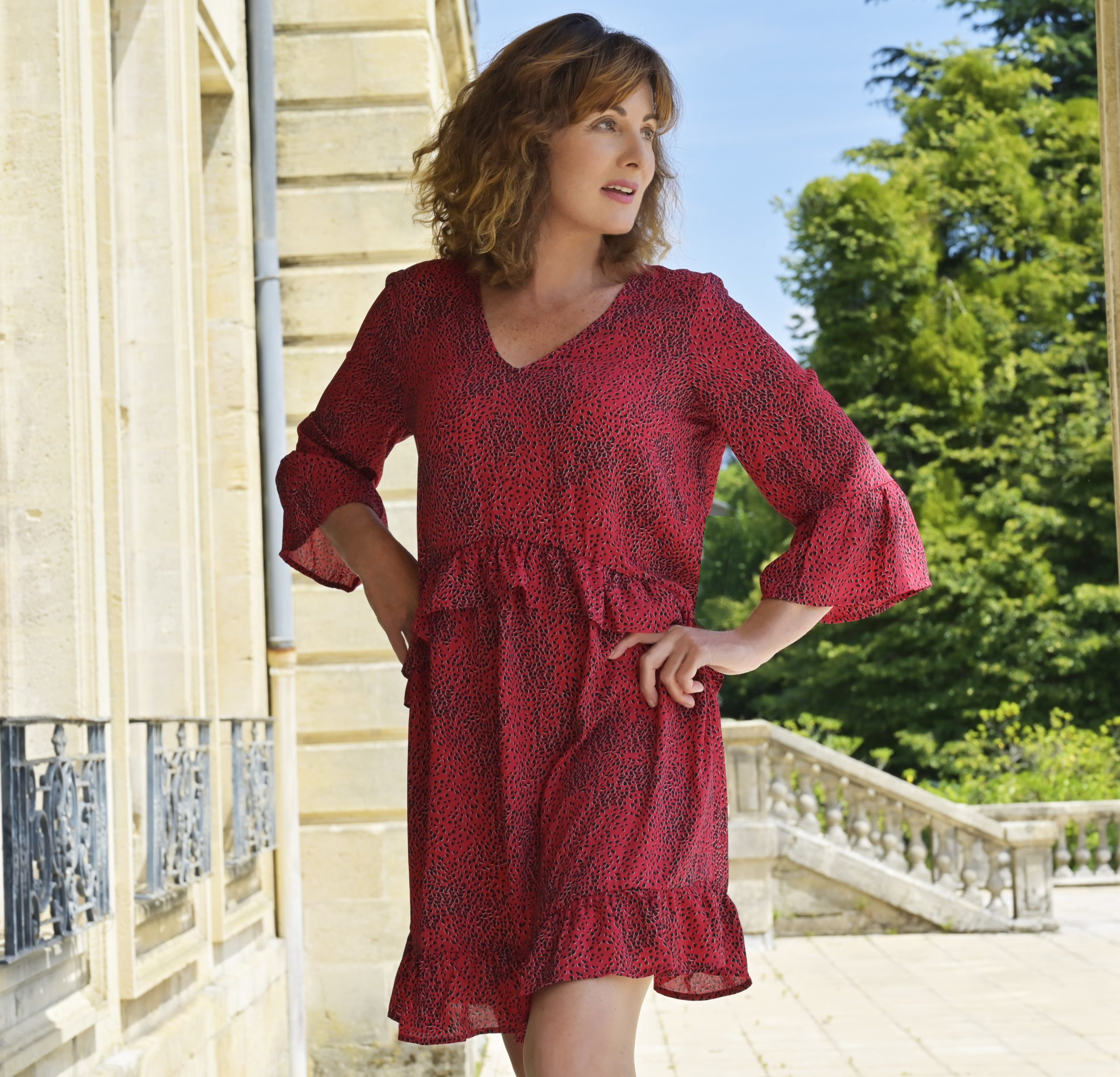 nelly berthele robe imprime rouge